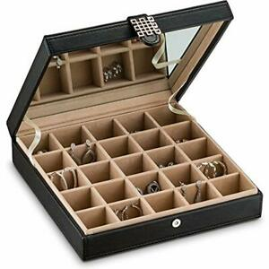 Earring Organizer Classic 25 Section Jewelry Box case holder For Earrings