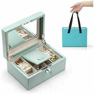 Lockable Jewelry Box Two Tray Jewelries Collections Organizer Girls Gift aqua