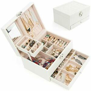 Jewelry Box Organizer Three layers Leather Display Case With Retro Lock And Home