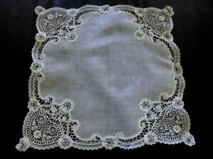Antique Handmade Wedding Bride S Hankie Brussels Princess Lace