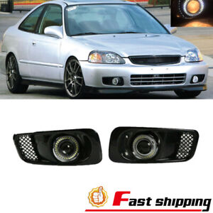 Fit 1999 2000 Honda Civic Clear Lens Led Halo Bumper Drl Projector Fog Lights