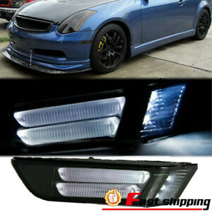 Fit 2003 2007 Infiniti G35 2 Door Coupe Clear Lens Led Bumper Smoky Side Marker