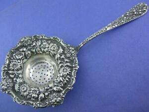 Early Rare Sterling Stieff Tea Strainer Stieff Rose W Repousse Floral Patterns