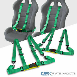 2x 4 point Green Adjustable Racing Seat Belts Harness Safety Shoulder Straps