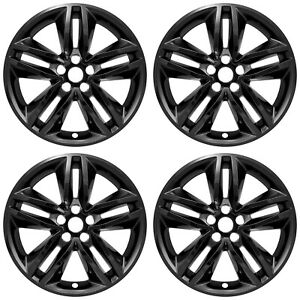 4 Black 18 Wheel Skins Hub Caps Rim Covers Simulators For 2015 2018 Ford Edge S