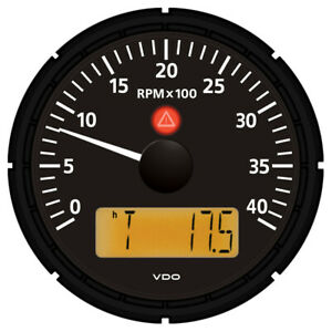 Vdo A2c53194863 S Viewline Onyx 4 000 Rpm 3 3 8 85mm Marine Tachometer With