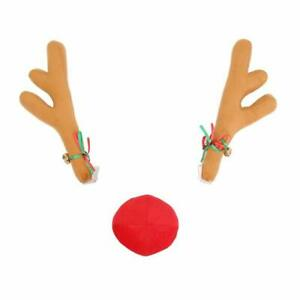Reindeer Car Kit Reindeer Antlers And Red Nose With Golden Jingle Bell For Car