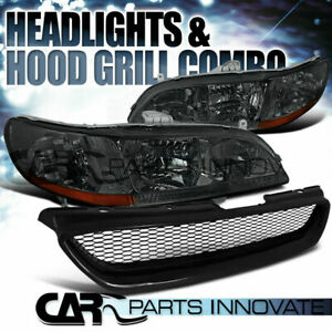 For 1998 2002 Honda Accord 2dr Coupe Smoke Headlight abs Type Mesh Hood Grille R