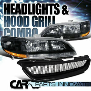 Fit 1998 2002 Honda Accord 2dr Coupe Black Headlight abs Type Mesh Hood Grille R