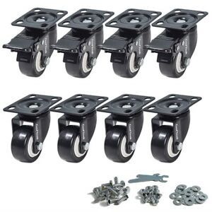 2 Inch Swivel Plate Pvc Caster Wheels Premium Casters Pack Of 8 4 With Brake