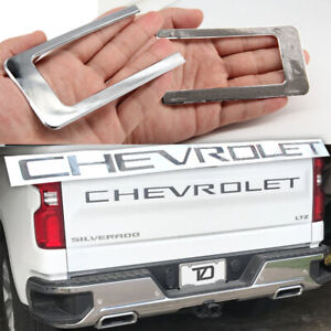 Mirror Chrome Tailgate Letters Insert Abs Plastic For 2019 2020 Chevy Silverado