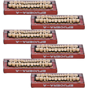 6sets Acrylic Resin Tooth Denture 23 A2 Dental Full Set Teeth Upper Lower Shade
