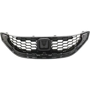 Grille For 2013 2015 Honda Civic With Emblem Provision Sedan Black Plastic Capa