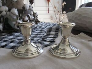 Gorham Sterling Silver Pair Of Weighted Candlesticks Candle Holders 661