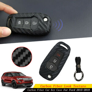Carbon Fiber Car Key Case Holder Protector Cover Accessories For Ford 2015 2019