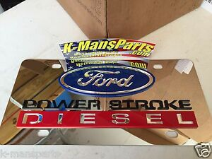 Ford Power Stroke Diesel Stainless Steel Chrome Mirror Vanity License Plate Tag