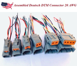 Assembled Deutsch Dtm 2 4 6 8 12 Pin 20awg Wire Waterproof Connector Pigtail