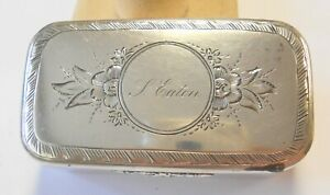 Antique Victorian Sterling Silver Lidded Floral Box Ladies Needle Trinket Pill