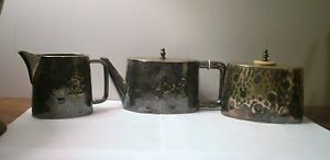Berliner Art Deco Hand Hammered Waren Fabrik B E P W F Creamer Sugar Tea Pot