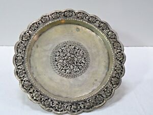 Cdx127 Chinese Tin Washed Copper Handmade Round Salver Tray Engraved Repousse