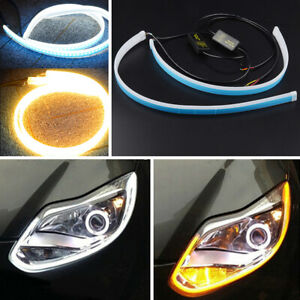 2x 30cm Dual Switchback Led Tube White Drl Running Amber Turn Signal Light Strip