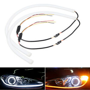 Us 60cm Car Drl Daytime Running Lamp Yellow White Led Strip Light Flexible Tube