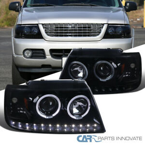 For Ford Explorer 02 05 Glossy Black Led Dual Halo Projector Headlights Lamps