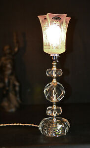 Vintage 1950s Heavy Hand Cut Glass Lamp Edwardian Hand Made Acid Etched Shade