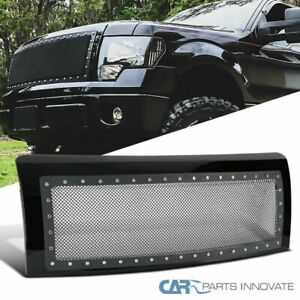 Ford 09 14 F150 Pickup Glossy Black Rivet Style Mesh Front Bumper Hood Grille