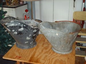 2 Vintage Ash Coal Buckets Pails Galvanized Wood Handle Old Fireplace Stove