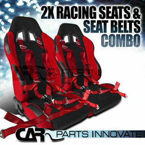 2x Jdm Black Red Cloth Pvc Leather Reclinable Racing Seats Camlock Belt Red