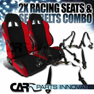 T R Black Red Cloth Pvc Reclinable Racing Bucket Seats Pair W Black Belt Harness
