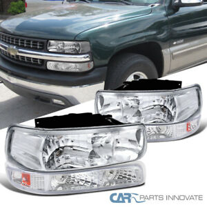 For 99 02 Silverado 00 06 Suburban Tahoe Clear Headlights Bumper Signal Lamps