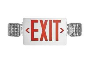 Led Exit Sign Emergency Light Red Compact Combo Ul924 Fire Safety Comborjr