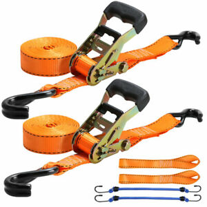2 Pack Ratchet Straps Motorcycle Tie Down Kit 1 5 x 8ft soft Loops 5400lbs Usa