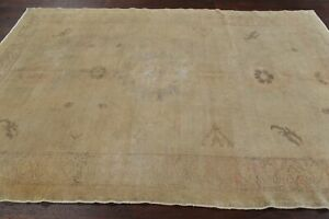 Antique Muted Oushak Turkish Area Rug Vegetable Dye Hand Knotted Living Room 6x9