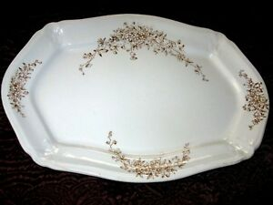 Antique W M Co Brown Transfer White Ironstone Platter Forget Me Not 16 X 11
