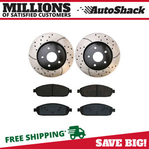 Front Drilled Slotted Brake Rotors Metallic Pads For 2006 2010 Jeep Commander