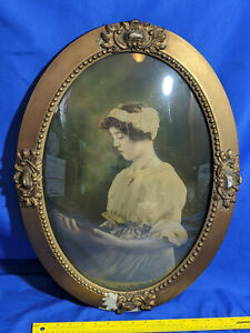Antique Convex Oval Picture Frame Young Pretty Woman Print Gold Gilt 24x18 Open