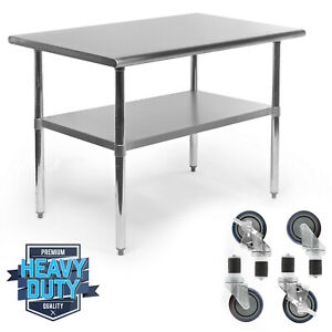 Stainless Steel Commercial Kitchen Work Food Prep Table W 4 Casters 30 X 48