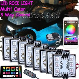 8 Pod Rgb Led Golf Cart Kart Led Neon Light Bluetooth Control Under Body Lamp