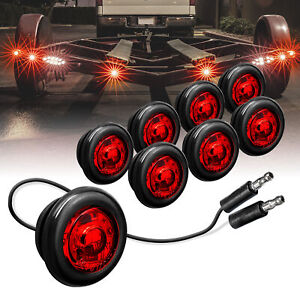 8pc 3 4 Round Dot P2pc Red Led Bullet Clearance Marker Lights For Trailer