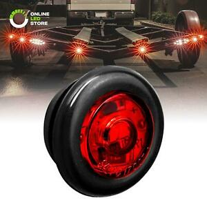 3 4 Round Dot P2pc Red Led Bullet Clearance Marker Lights For Trailer Truck