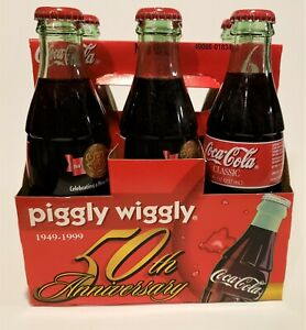 Piggly Wiggly 50th Anniversary 8oz Coca Cola 6 Pack of Bottles