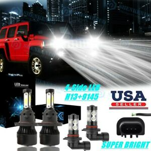 For 2006 2010 Hummer H3 6000k Led Headlight Hi lo Fog Light Bulbs Combo 4x