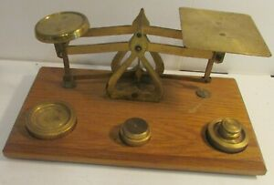 Small Vintage Brass Wood Postal Scale W Weights 4 2 1 2 Oz Weights English