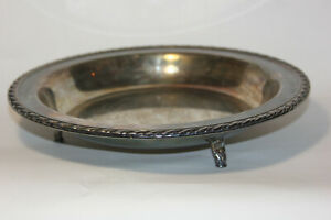 Vintage Wm A Rogers Silver Platter Footed Round Serving Tray Marked