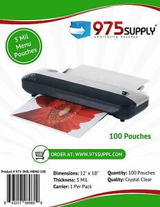975 Supply 3mil Menu Thermal Laminating Pouches 12 X 18 100 Pouches