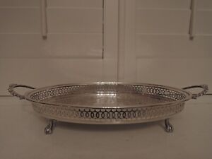 English Handled Ball Claw Foot Pierced Gallery Silverplate Tray Butler Server
