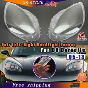 Clear Headlight Lens Cover Replacement Pair For C6 Corvette 2005 2013